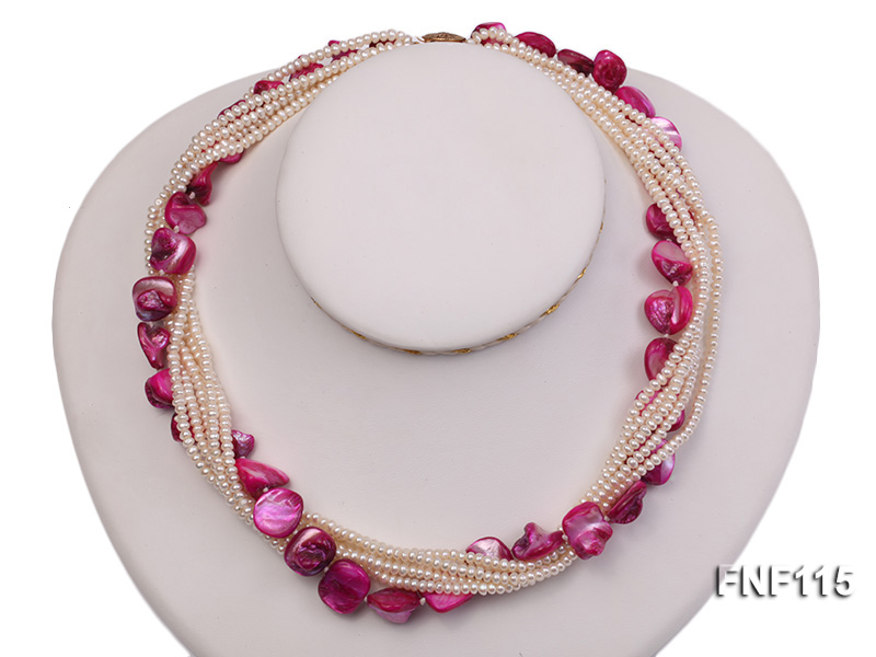 Multi-strand 3-4mm White Freshwater Pearl and Purple Seashell Pieces Necklace big Image 1