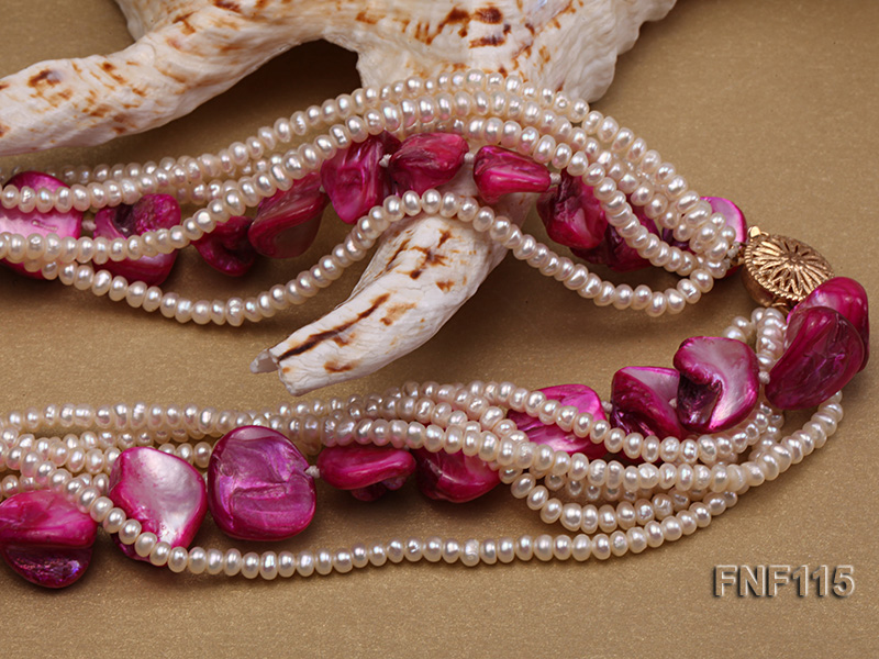 Multi-strand 3-4mm White Freshwater Pearl and Purple Seashell Pieces Necklace big Image 3