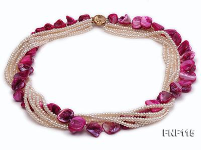 Multi-strand 3-4mm White Freshwater Pearl and Purple Seashell Pieces Necklace FNF115 Image 2