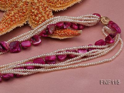 Multi-strand 3-4mm White Freshwater Pearl and Purple Seashell Pieces Necklace FNF115 Image 4