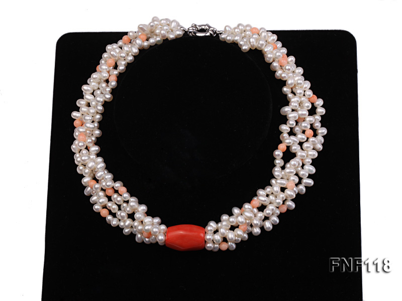 Four-strand 5-6mm White Freshwater Pearl Necklace with Coral Beads big Image 1