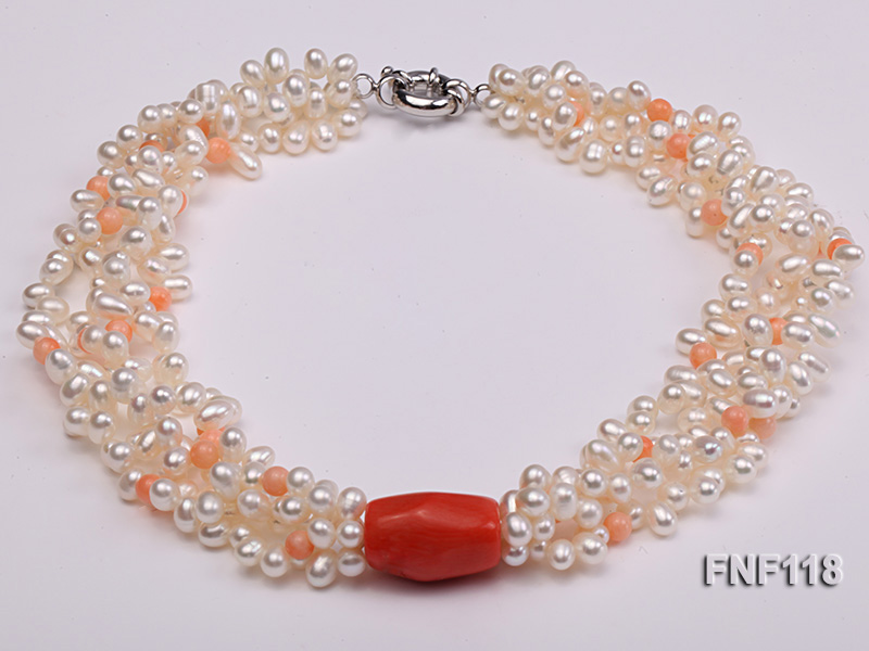 Four-strand 5-6mm White Freshwater Pearl Necklace with Coral Beads big Image 2