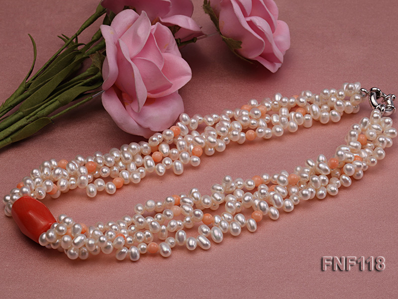 Four-strand 5-6mm White Freshwater Pearl Necklace with Coral Beads big Image 5