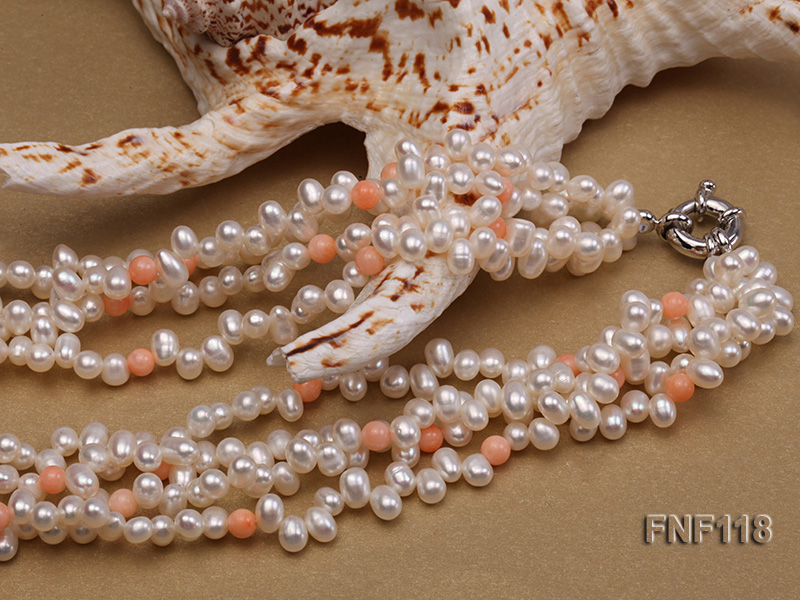 Four-strand 5-6mm White Freshwater Pearl Necklace with Coral Beads big Image 6