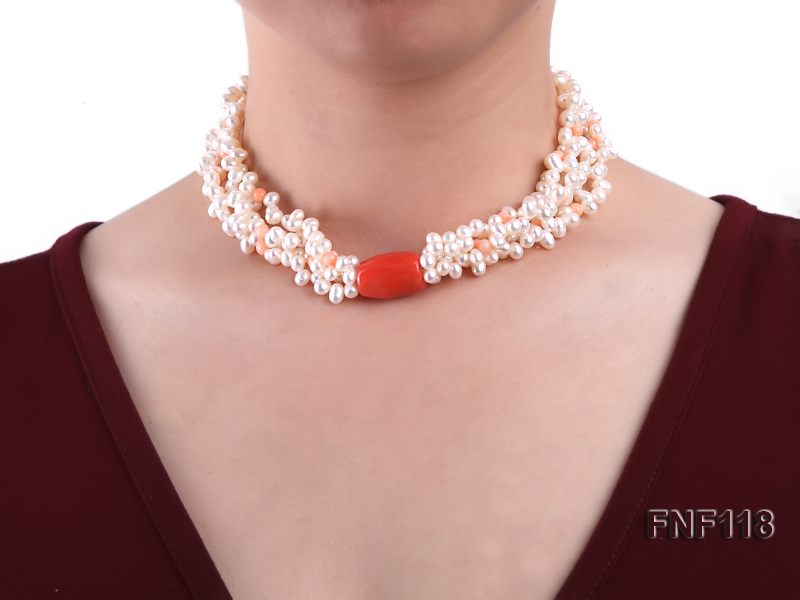 Four-strand 5-6mm White Freshwater Pearl Necklace with Coral Beads big Image 3