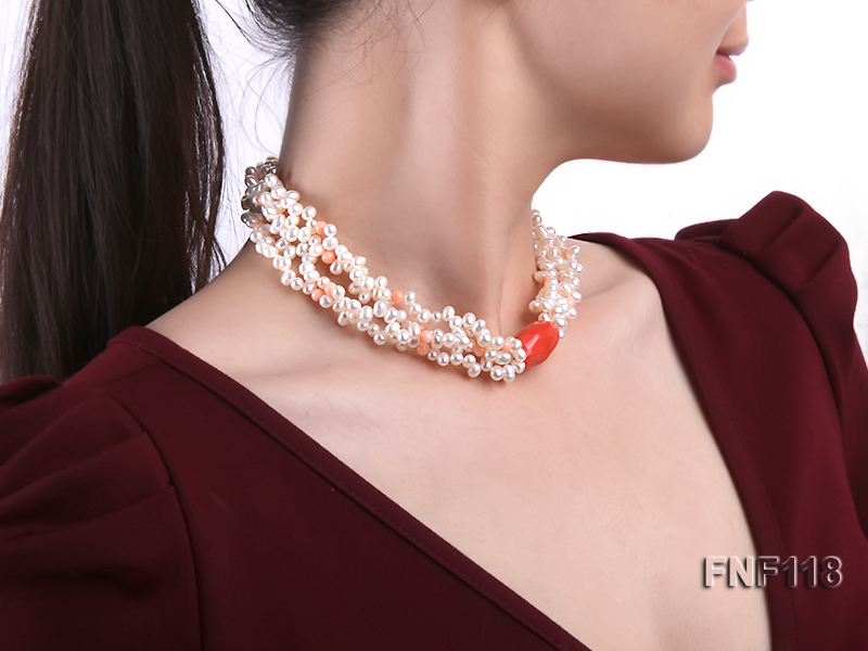 Four-strand 5-6mm White Freshwater Pearl Necklace with Coral Beads big Image 7