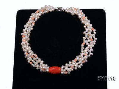 Four-strand 5-6mm White Freshwater Pearl Necklace with Coral Beads FNF118 Image 1