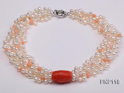 Four-strand 5-6mm White Freshwater Pearl Necklace with Coral Beads FNF118 Image 2