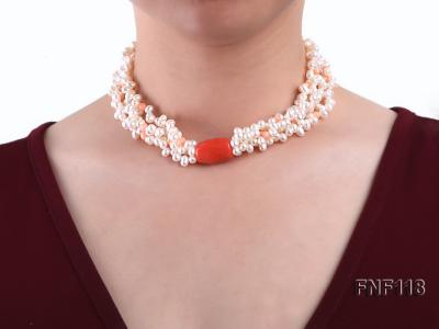 Four-strand 5-6mm White Freshwater Pearl Necklace with Coral Beads FNF118 Image 3