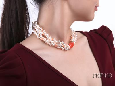 Four-strand 5-6mm White Freshwater Pearl Necklace with Coral Beads FNF118 Image 7