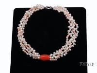 Four-strand 5-6mm White Freshwater Pearl Necklace with Coral Beads FNF118