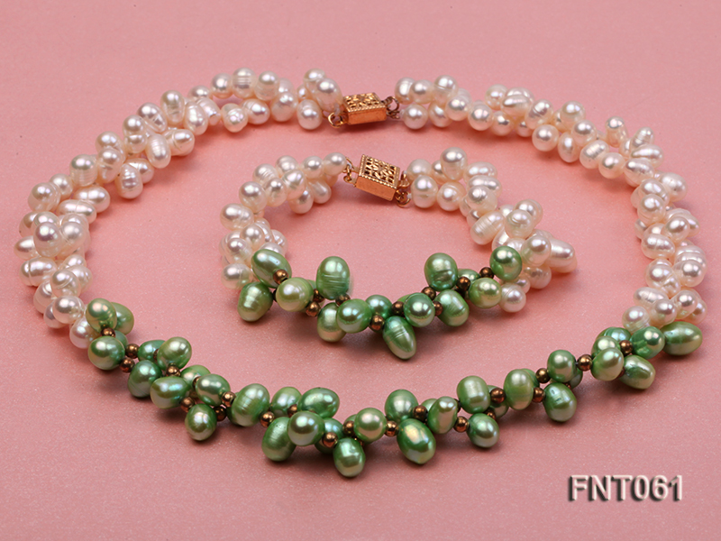6-7mm White & Green Freshwater Pearl Necklace and Bracelet Set big Image 1