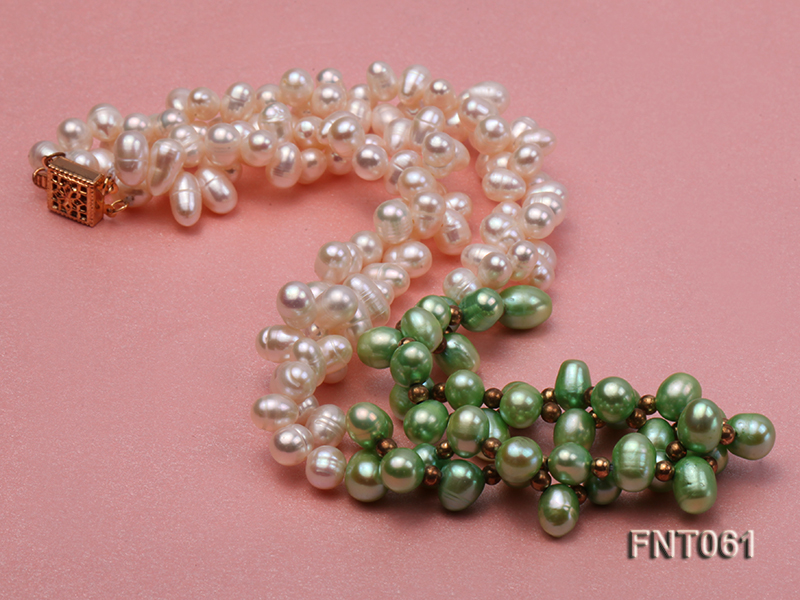 6-7mm White & Green Freshwater Pearl Necklace and Bracelet Set big Image 2