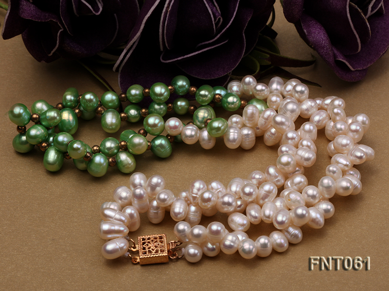 6-7mm White & Green Freshwater Pearl Necklace and Bracelet Set big Image 4