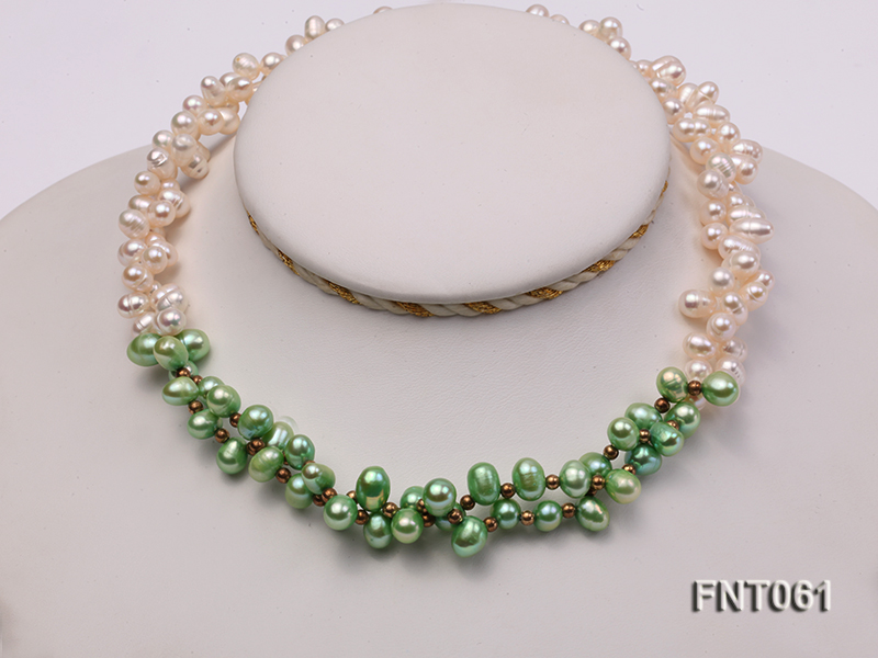 6-7mm White & Green Freshwater Pearl Necklace and Bracelet Set big Image 5