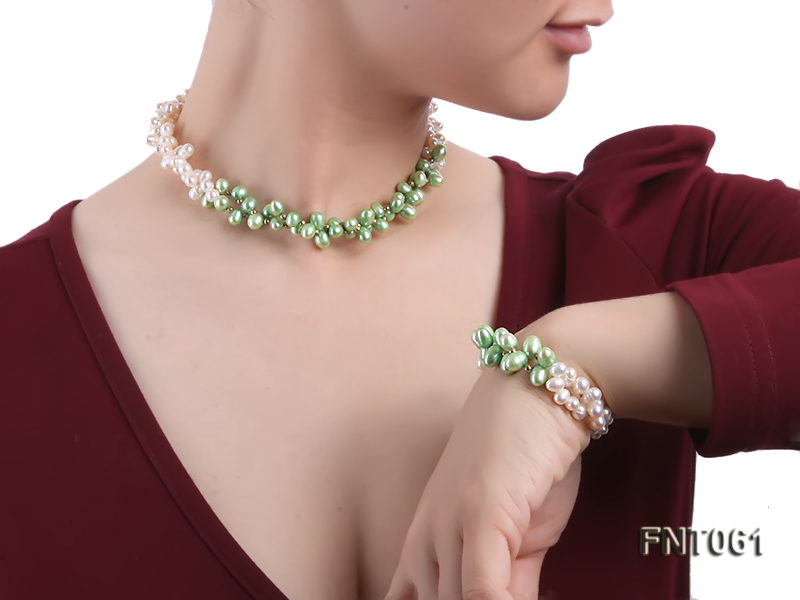 6-7mm White & Green Freshwater Pearl Necklace and Bracelet Set big Image 6