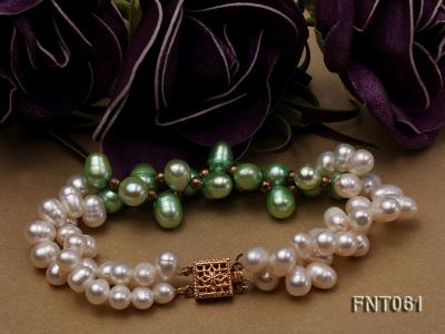 6-7mm White & Green Freshwater Pearl Necklace and Bracelet Set FNT061 Image 3