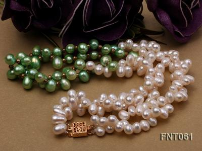 6-7mm White & Green Freshwater Pearl Necklace and Bracelet Set FNT061 Image 4