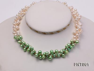 6-7mm White & Green Freshwater Pearl Necklace and Bracelet Set FNT061 Image 5