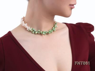 6-7mm White & Green Freshwater Pearl Necklace and Bracelet Set FNT061 Image 8