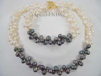 2 strand white and black freshwater pearl necklace and bracelet set FNT062