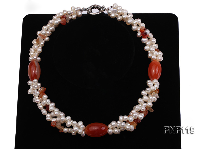 Three-strand White Freshwater Pearl Necklace with Red Agate Beads big Image 1