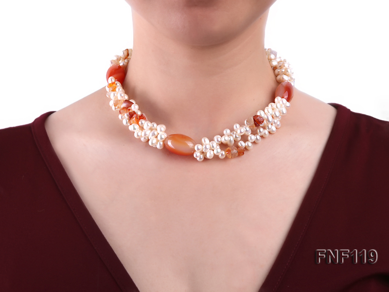 Three-strand White Freshwater Pearl Necklace with Red Agate Beads big Image 3