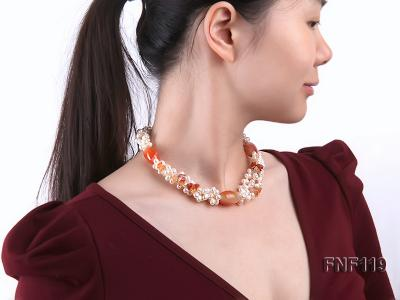 Three-strand White Freshwater Pearl Necklace with Red Agate Beads FNF119 Image 6