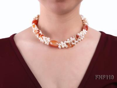 Three-strand White Freshwater Pearl Necklace with Red Agate Beads FNF119 Image 3