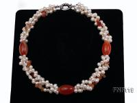 Three-strand White Freshwater Pearl Necklace with Red Agate Beads FNF119