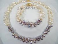 2 strand white and lavender freshwater pearl necklace and bracelet set FNT063