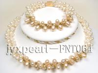 2 strand white and pink freshwater pearl necklacce and bracelet set FNT064