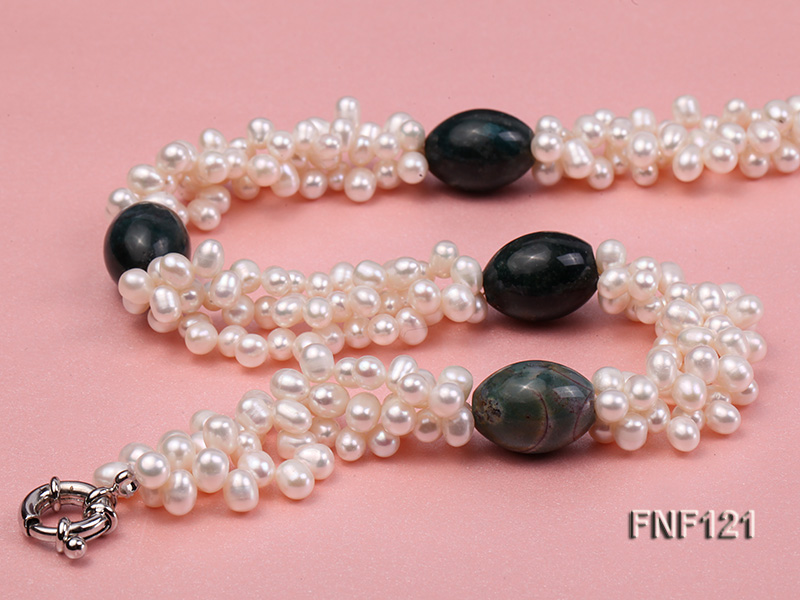 Three-strand 5-6mm White Freshwater Pearl Necklace with Dark-green Agate Beads big Image 2