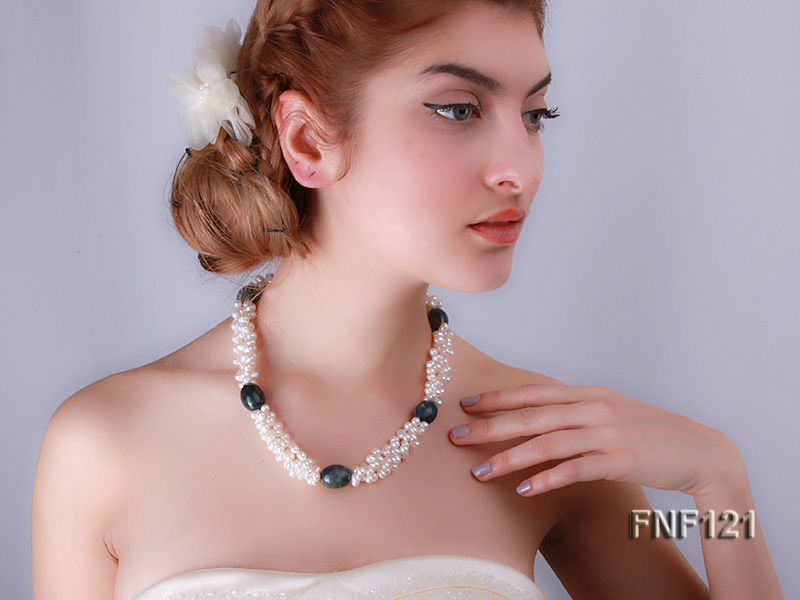 Three-strand 5-6mm White Freshwater Pearl Necklace with Dark-green Agate Beads big Image 5