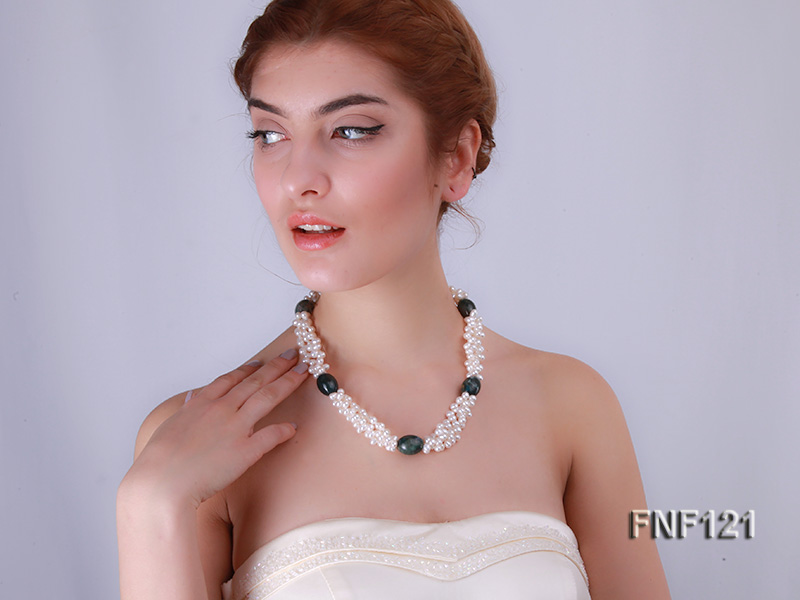 Three-strand 5-6mm White Freshwater Pearl Necklace with Dark-green Agate Beads big Image 7