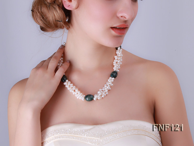 Three-strand 5-6mm White Freshwater Pearl Necklace with Dark-green Agate Beads big Image 8