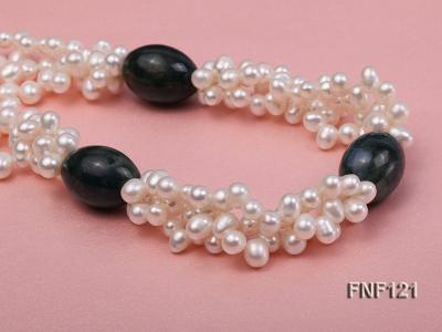 Three-strand 5-6mm White Freshwater Pearl Necklace with Dark-green Agate Beads FNF121 Image 4