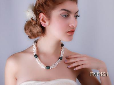 Three-strand 5-6mm White Freshwater Pearl Necklace with Dark-green Agate Beads FNF121 Image 5