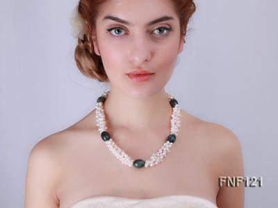 Three-strand 5-6mm White Freshwater Pearl Necklace with Dark-green Agate Beads FNF121 Image 6