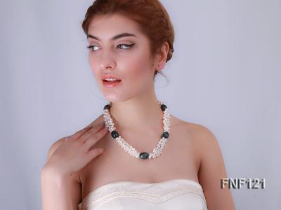 Three-strand 5-6mm White Freshwater Pearl Necklace with Dark-green Agate Beads FNF121 Image 7