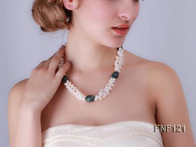 Three-strand 5-6mm White Freshwater Pearl Necklace with Dark-green Agate Beads FNF121 Image 8