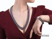 Two-strand 8-9mm Dark-purple Freshwater Pearl Necklace and Bracelet Set FNT065