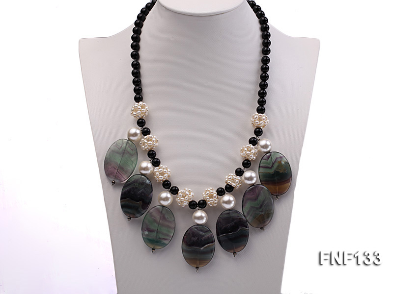 Black Agate Necklace with White Freshwater Pearls and Purple Fluorite Pendants big Image 1