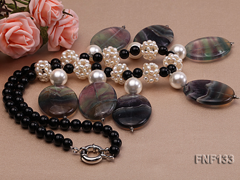 Black Agate Necklace with White Freshwater Pearls and Purple Fluorite Pendants big Image 2