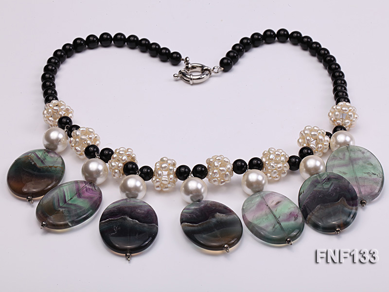 Black Agate Necklace with White Freshwater Pearls and Purple Fluorite Pendants big Image 4