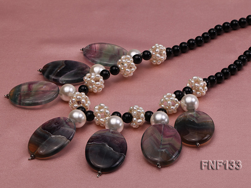 Black Agate Necklace with White Freshwater Pearls and Purple Fluorite Pendants big Image 5