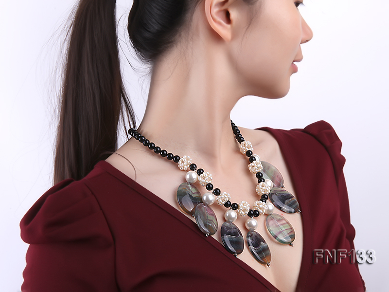 Black Agate Necklace with White Freshwater Pearls and Purple Fluorite Pendants big Image 7