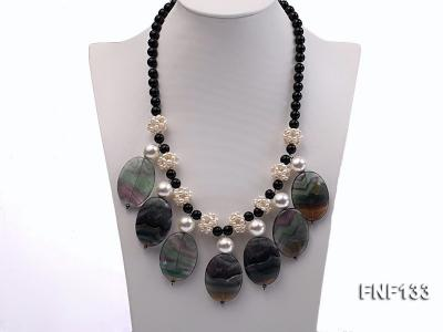 Black Agate Necklace with White Freshwater Pearls and Purple Fluorite Pendants FNF133 Image 1