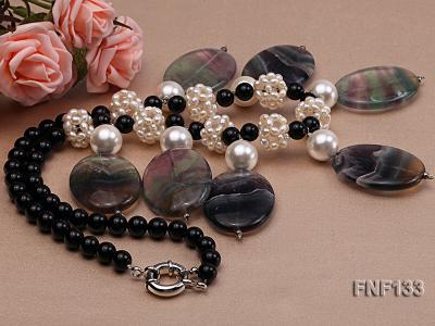 Black Agate Necklace with White Freshwater Pearls and Purple Fluorite Pendants FNF133 Image 2