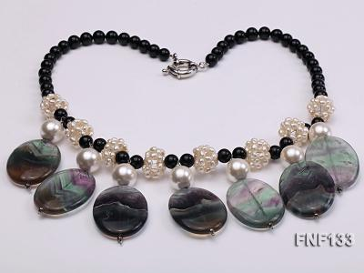 Black Agate Necklace with White Freshwater Pearls and Purple Fluorite Pendants FNF133 Image 4